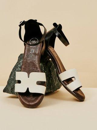 Bílé kožené sandálky na nízkém podpatku OJJU