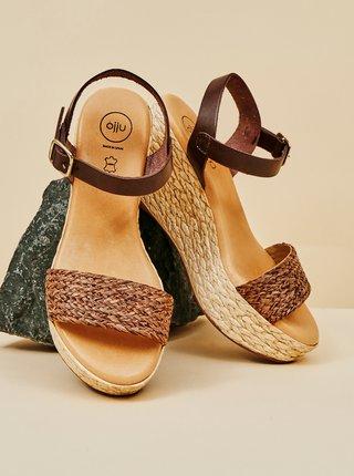 Hnedé kožené sandálky na plnom podpätku OJJU