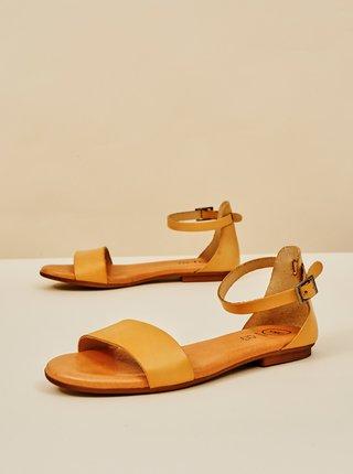 Béžové dámské kožené sandály OJJU