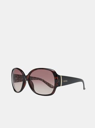 Hnědé dámské vzorované sluneční brýle Guess
