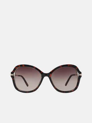 Tmavohnedé dámske vzorované slnečné okuliare Guess