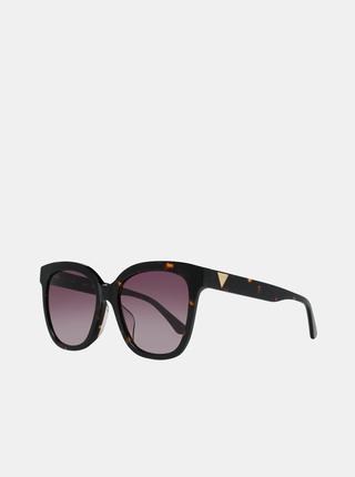 Hnědo-černé dámské vzorované sluneční brýle Guess