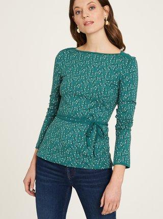 Zelené kvetované tričko so zaväzovaním Tranquillo