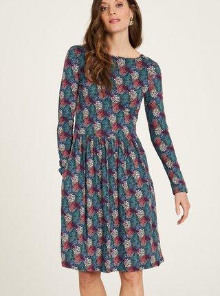 Modré vzorované šaty s vreckami Tranquillo