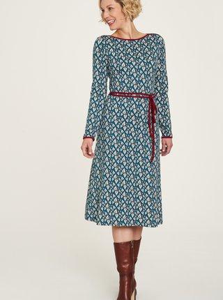 Modré vzorované šaty so zaväzovaním Tranquillo