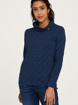 Tmavomodré vzorované tričko s limcom Tranquillo
