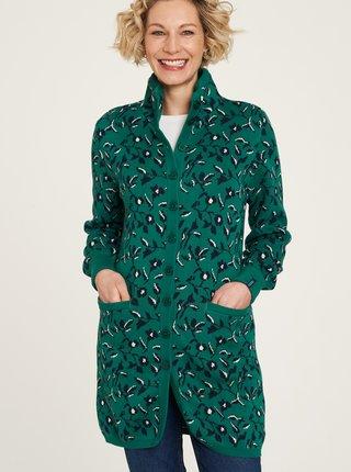 Zelený kvetovaný dlhý kardigan Tranquillo