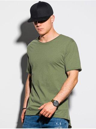 Pánske tričko bez potlače S1378 - khaki