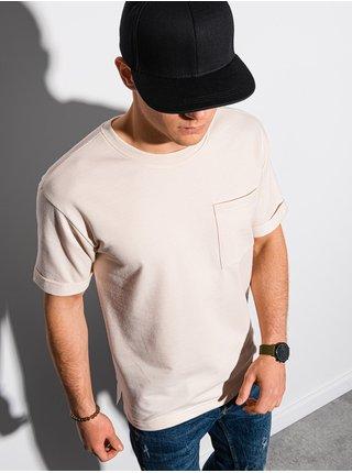 Pánske tričko s potlačou S1371 - smotanová