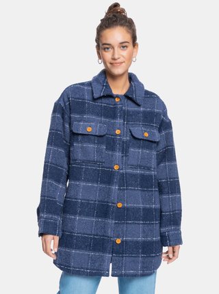 Modrá dámská kostkovaná košilová bunda Roxy
