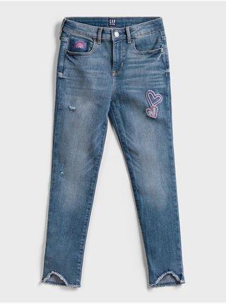 Modré holčičí dětské džíny embroidered heart legging with stretch GAP