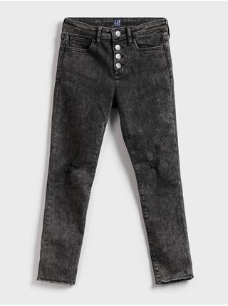 Černé holčičí dětské džíny high-rise skinny ankle legging GAP