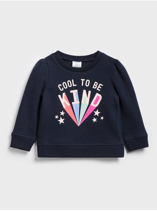 Modrá holčičí dětská mikina crewneck sweatshirt GAP