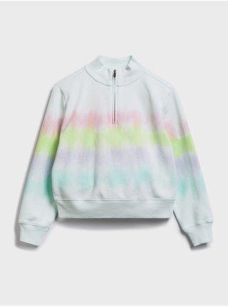 Bílá holčičí dětská mikina tie-dye quarter zip sweatshirt GAP