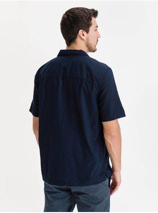 Modrá pánská košile linen-cotton button-front shirt GAP