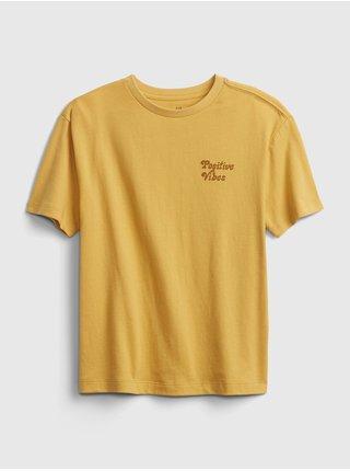 Žluté klučičí dětské tričko gen good t-shirt GAP