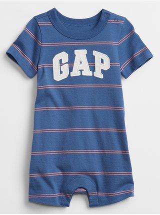 Modrý klučičí baby overal GAP Logo stripe shorty one-piece