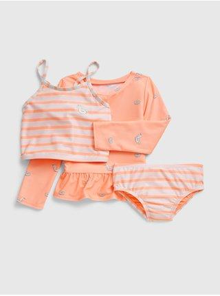 Oranžové holčičí dětské plavky swim set GAP