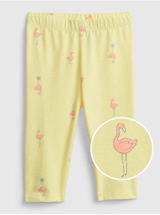 Žluté holčičí dětské legíny organic cotton crop leggings GAP