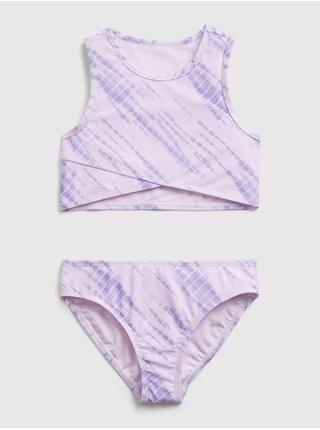 Fialové holčičí dětské plavky tie-dye swim two-piece GAP