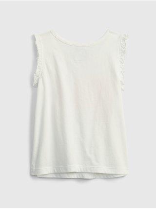 Bílý holčičí dětský top 100% organic cotton mix and match graphic tank GAP