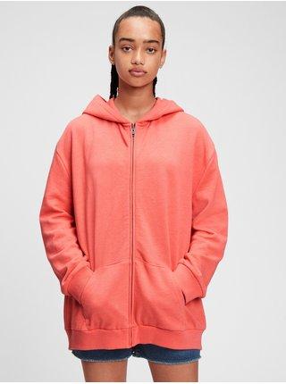 Červená holčičí dětská mikina oversized tunic hoodie GAP