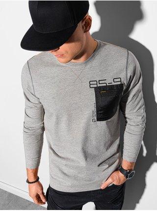 Chlapčenské tričko s dlhým rukávom a potlačou L130 – žíhano sivá - S