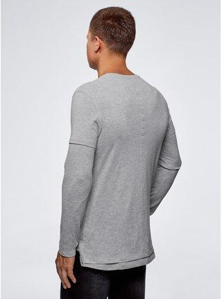 Tričko bavlněné s dvojitým rukávem OODJI