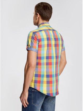 Košeľa kockovaná s krátkym rukávom vypasovaná OODJI