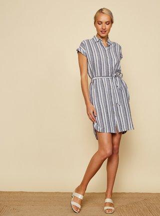 Bílo-modré pruhované košilové lněné šaty ZOOT Janet