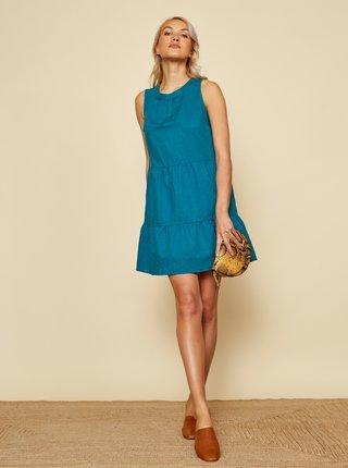 Modré ľanové šaty ZOOT Priti