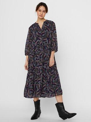 Tmavomodré kvetované šaty VERO MODA CURVE