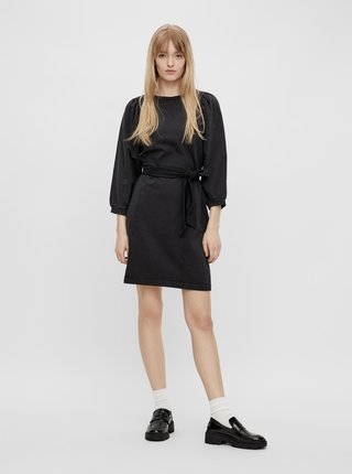 Černé mikinové šaty se zavazováním Pieces Gahoa