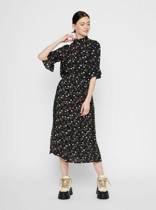 Tmavomodrá kvetovaná midi sukňa Pieces Skylar