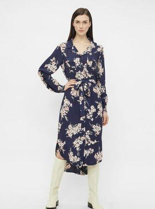 Tmavomodré kvetované košeľové midišaty Pieces Tys