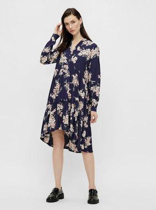 Tmavomodré kvetované šaty Pieces Tys