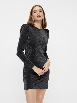 Čierne púzdrové trblietavé šaty Pieces