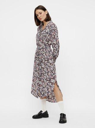 Šedé kvetované košeľové šaty Pieces