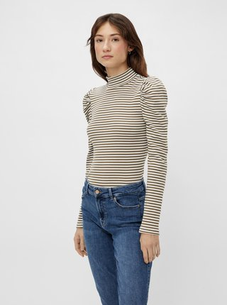 Khaki pruhované tričko se stojáčkem Pieces