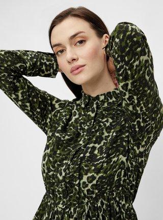 Tmavozelené vzorované košeľové šaty Pieces Faxa
