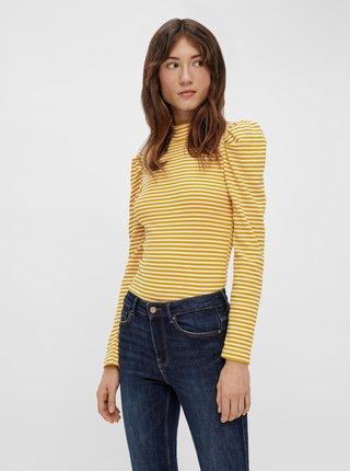 Žlté pruhované tričko so stojáčikom Pieces