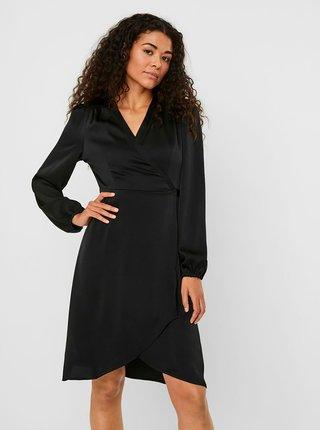 Čierne saténové zavinovacie šaty VERO MODA Erin