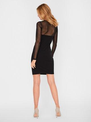Čierne púzdrové šaty s priesvitnými rukávmi VERO MODA Kayly