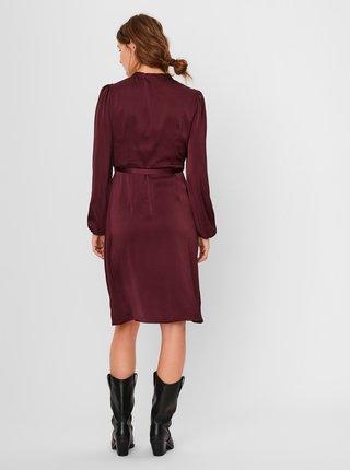 Vínové saténové zavinovacie šaty VERO MODA Erin