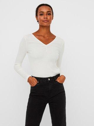 Bílé žebrované tričko VERO MODA Polly