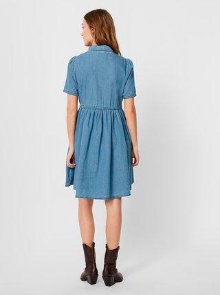 Modré rifľové košeľové šaty VERO MODA Ellie