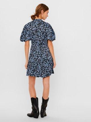 Modré květované šaty se stojáčkem VERO MODA-Lydia