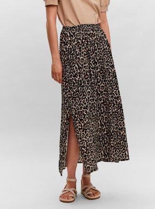 Hnedá vzorovaná maxi sukňa VERO MODA Simply