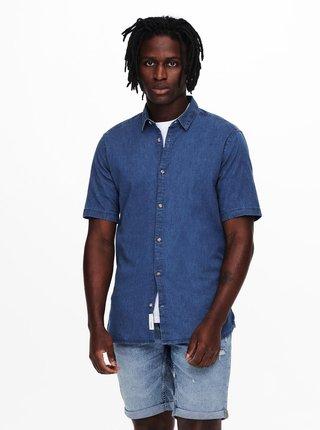 Modrá rifľová košeľa s krátkym rukávom ONLY & SONS