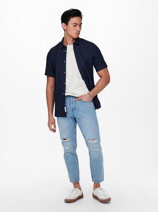Modrá džínová košile s krátkým rukávem ONLY & SONS